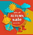 autumn fall sale banner flat cartoon elements vector image vector image