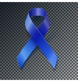 Awareness blue ribbon transparent shadow vector image