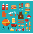 barbecue flat icon vector image vector image