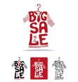 Big Sale lettering on tee shirt shape on hanger vector image