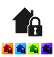 black house under protection icon isolated on vector image