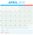 Calendar 2016 flat design template April Week vector image vector image