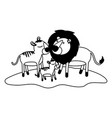 cartoon lions couple and cub over grass in black vector image