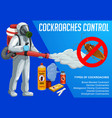 cockroach insect control with cold fogging method vector image vector image