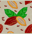 cocoa fruits and leaves whole fruit cut cocoa vector image vector image