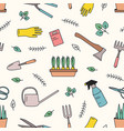 colorful seamless pattern with gardening tools for vector image vector image