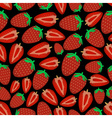 colorful strawberries fruits dark seamless pattern vector image