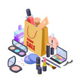 cosmetic sale shopping bag isometric concept vector image vector image