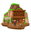 cowboy town with robber and camel vector image vector image
