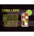 Cuba Libre cocktail with text description Modern vector image