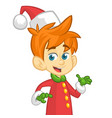 cute cartoon little boy santa helper elf vector image