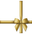 decorative golden bow with gold colored ribbons vector image vector image