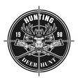 deer hunting isolated round vintage emblem vector image vector image