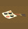 delicious japanese sushi rolls on square plate vector image
