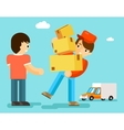Delivery man with boxes and car gives package to vector image