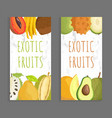 exotic fruit menu cover template for restaurant vector image vector image