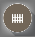 fence simple sign white icon on brown vector image vector image