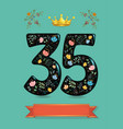 glared floral number thirty five with golden crown vector image