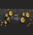 gold glitter easter eggs luxury greeting card vector image