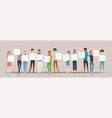 group young people holding empty boards vector image vector image