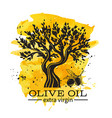 hand drawn olive tree in retro vector image vector image