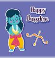 happy dussehra festival india cartoon rama vector image vector image