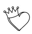 heart love crown icon on white background thick vector image vector image