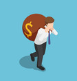 isometric businessman carry big money bag on his vector image
