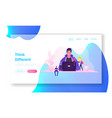 it worker at workplace website landing page vector image vector image