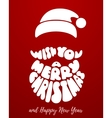 Merry Christmas Lettering with Santa Claus beard vector image vector image