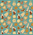 merry christmas seamless pattern with gingerbread vector image