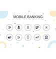 mobile banking trendy infographic template thin vector image vector image