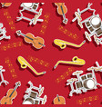 musical instruments seamless pattern with drum vector image
