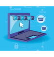 on line shopping with laptop vector image vector image