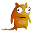 orange monster with a tail on white background vector image vector image