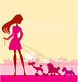 Pretty girl walking the dogs vector image vector image