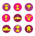 prize award icon set vector image