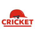 red cricket helmet logo flat style vector image