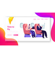 respectable businessmen sitting in airplane seats vector image vector image