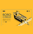 ro-ro cargo ship website isometric template vector image vector image