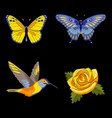rose hummingbird and butterflies embroidery set vector image