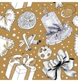 Seasonal hand drawn sketch pattern vector image vector image