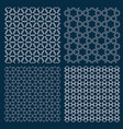 set four arabic geometric patterns with stars vector image vector image