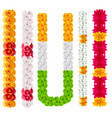 set indian flower garland mala isolated on white vector image vector image