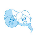 silhouette old couple face with hairstyle vector image