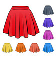 skirts set in various colors vector image vector image