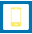 Smartphone flat yellow and white colors rounded vector image vector image