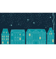 snowy night in cozy christmas town vector image