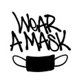 sprayed wear a mask font with overspray in black vector image