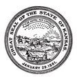 the great seal of the state of kansas 1861 vintage vector image vector image